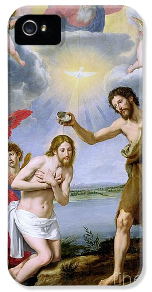 John The Baptist iPhone 5 Cases - The Baptism of Christ iPhone 5 Case by Ottavio Vannini