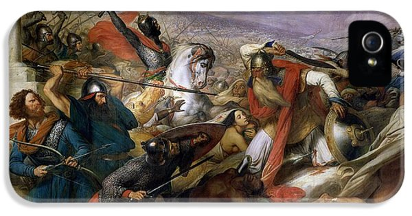 Ancient iPhone 5 Cases - The Battle of Poitiers iPhone 5 Case by Charles Auguste Steuben