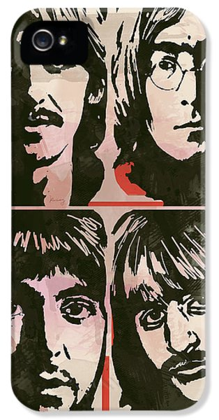 The Beatles Pop Stylised Art Sketch Poster IPhone 5 / 5s Case by Kim Wang