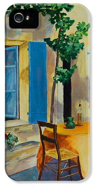 Oil House iPhone 5 Cases - The Blue Shutters iPhone 5 Case by Elise Palmigiani