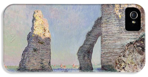 Water iPhone 5 Cases - The Cliffs at Etretat iPhone 5 Case by Claude Monet