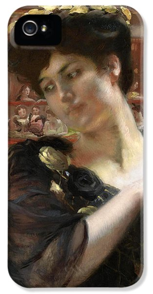 Fin De Siecle iPhone 5 Cases - The Comedie Francaise possibly a portrait of the actress Gabrielle Rejane iPhone 5 Case by Paul Albert Besnard