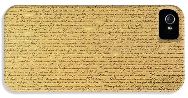 The Declaration Of Independence IPhone 5 / 5s Case by Founding Fathers