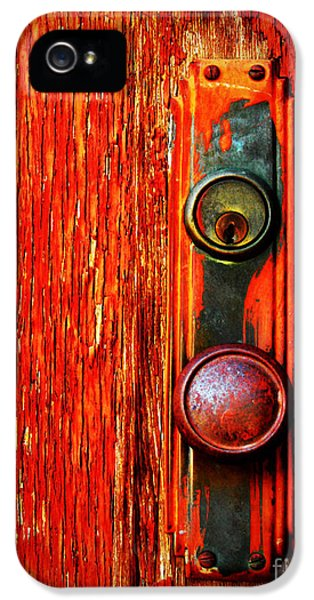 Red iPhone 5 Cases - The Door Handle  iPhone 5 Case by Tara Turner