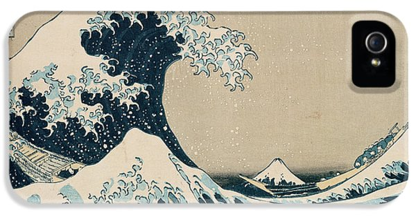 Curtain iPhone 5 Cases - The Great Wave of Kanagawa iPhone 5 Case by Hokusai