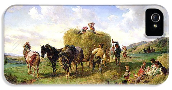 Meadow iPhone 5 Cases - The Hay Harvest iPhone 5 Case by Hermann Kauffmann