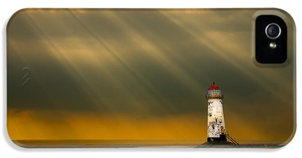 Point Of View iPhone 5 Cases - The Lighthouse As The Storm Breaks iPhone 5 Case by Meirion Matthias