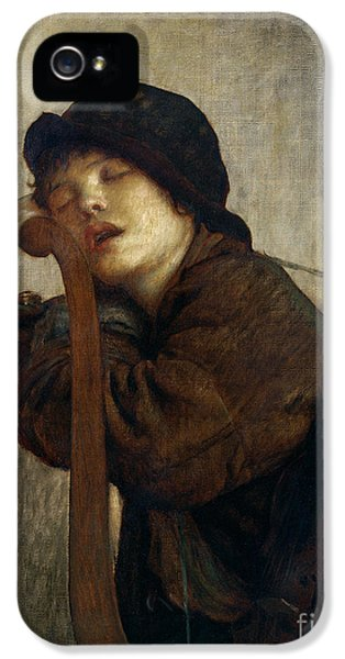 Music iPhone 5 Cases - The Little Violinist Sleeping iPhone 5 Case by Antoine Auguste Ernest Hebert