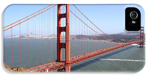 Tourism iPhone 5 Cases - The San Francisco Golden Gate Bridge . 7D14507 iPhone 5 Case by Wingsdomain Art and Photography