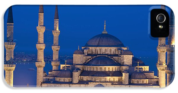Colour Image iPhone 5 Cases - The Sultanahmet Or Blue Mosque At Dusk iPhone 5 Case by Axiom Photographic