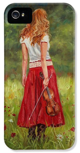 Dress iPhone 5 Cases - The Violinist iPhone 5 Case by David Stribbling
