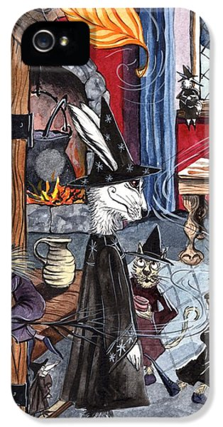 Witch On Broomstick iPhone 5 Cases - The Vroffa-Tree Inn. iPhone 5 Case by Jacqueline Lovesey