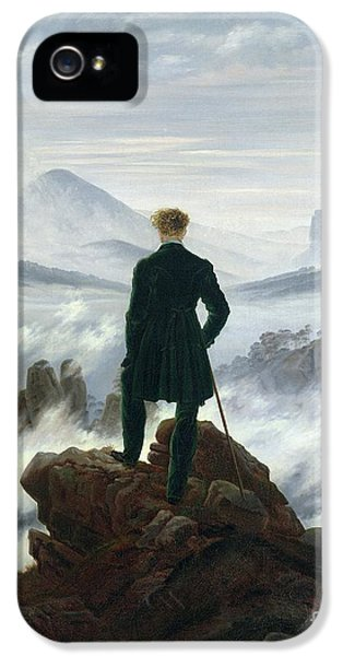 Contemplative iPhone 5 Cases - The Wanderer above the Sea of Fog iPhone 5 Case by Caspar David Friedrich