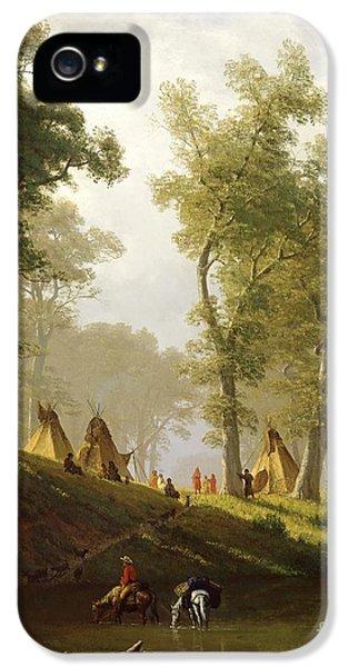 Hut iPhone 5 Cases - The Wolf River - Kansas iPhone 5 Case by Albert Bierstadt