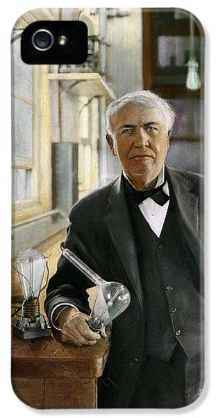 Filament (lightbulb) iPhone 5 Cases - Thomas Edison iPhone 5 Case by Granger