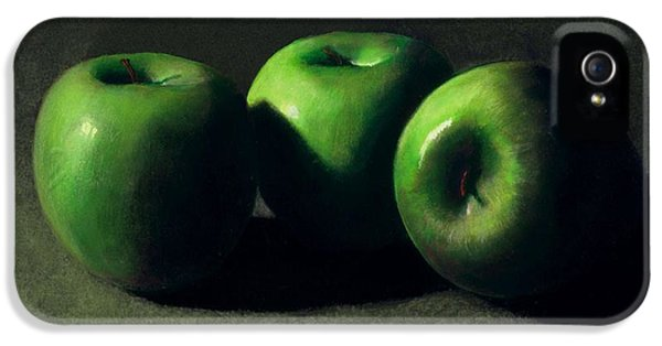 Food iPhone 5 Cases - Three Green Apples iPhone 5 Case by Frank Wilson