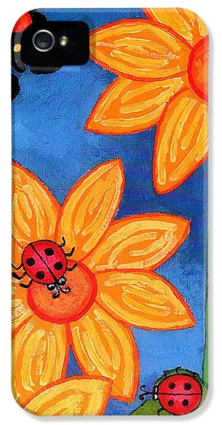 Three Ladybugs And Butterfly IPhone 5 / 5s Case by Genevieve Esson
