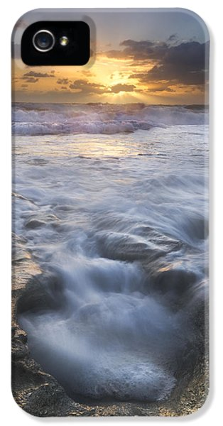 Blowing iPhone 5 Cases - Tumbling Surf iPhone 5 Case by Debra and Dave Vanderlaan