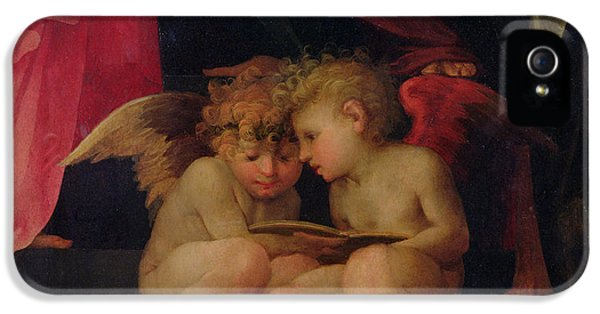 Angelic iPhone 5 Cases - Two cherubs reading detail from Madonna and Child with Saints iPhone 5 Case by Giovanni Battist Rosso Fiorentino