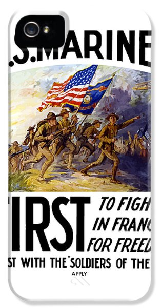 Us Marines - First To Fight In France IPhone 5 / 5s Case by War Is Hell Store