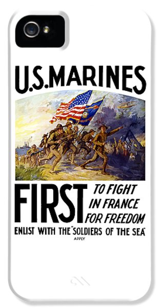 Marine Corps iPhone 5 Cases - US Marines - First To Fight In France iPhone 5 Case by War Is Hell Store