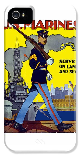 U.s. Marines - Service On Land And Sea IPhone 5 / 5s Case by War Is Hell Store