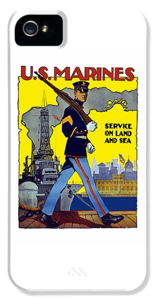 Dress iPhone 5 Cases - U.S. Marines - Service On Land And Sea iPhone 5 Case by War Is Hell Store