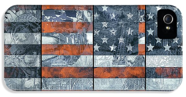4th July iPhone 5 Cases - Usa flag 12 iPhone 5 Case by MB Art factory