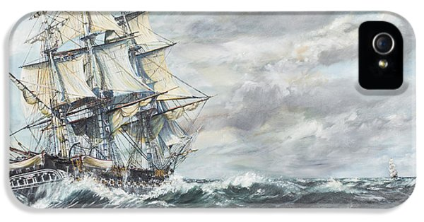 Us Constitution iPhone 5 Cases - USS Constitution heads for HM Frigate Guerriere iPhone 5 Case by Vincent Alexander Booth
