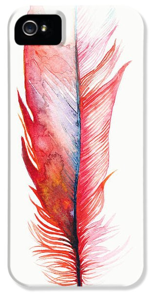 Vermilion Feather IPhone 5 / 5s Case by Willow Heath