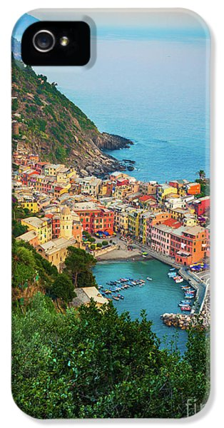 Harbour iPhone 5 Cases - Vernazza from above iPhone 5 Case by Inge Johnsson