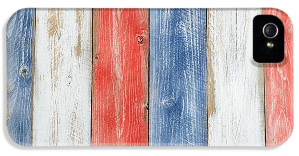 Vertical Stressed Boards Painted In Usa National Colors IPhone 5 / 5s Case by Thomas Baker