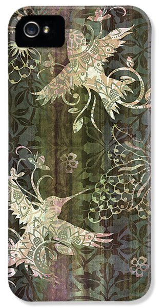 Songbird iPhone 5 Cases - Victorian Hummingbird Green iPhone 5 Case by JQ Licensing