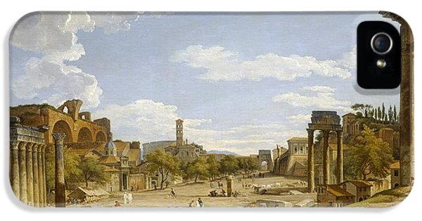 Ruins iPhone 5 Cases - View of the Roman Forum iPhone 5 Case by Giovanni Paolo Panini