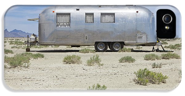Point Of View iPhone 5 Cases - Vintage Airstream Trailer On Bonneville iPhone 5 Case by Paul Edmondson
