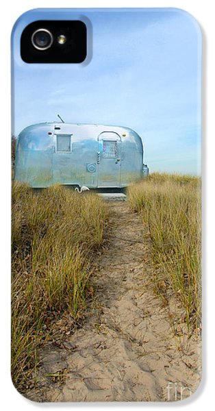 Trailer iPhone 5 Cases - Vintage Camping Trailer Near the Sea iPhone 5 Case by Jill Battaglia