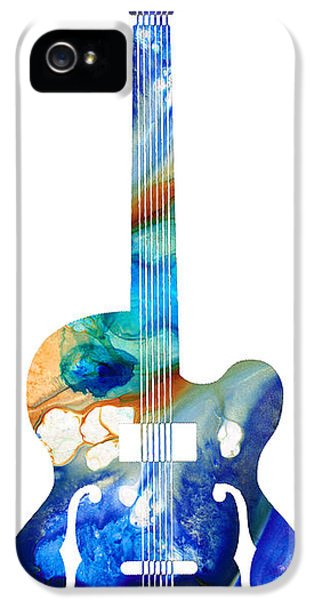 Acoustic iPhone 5 Cases - Vintage Guitar - Colorful Abstract Musical Instrument iPhone 5 Case by Sharon Cummings