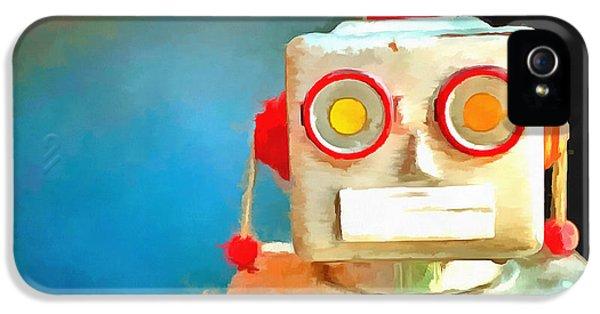 Robot iPhone 5 Cases - Vintage Robot Toy Pop Art iPhone 5 Case by Edward Fielding