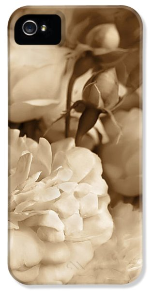 Ivory Rose iPhone 5 Cases - Vintage Roses Bouquet in Sepia iPhone 5 Case by Jennie Marie Schell