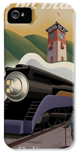 Engine iPhone 5 Cases - Vintage Union Station Train Poster iPhone 5 Case by Mitch Frey