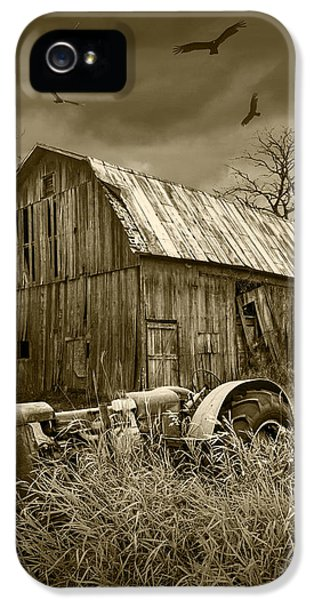 Circling iPhone 5 Cases - Vultures circling the Old Barn iPhone 5 Case by Randall Nyhof