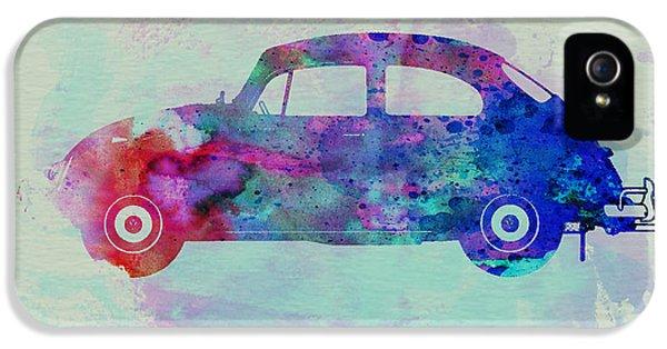 Bug iPhone 5 Cases - VW Beetle Watercolor 1 iPhone 5 Case by Naxart Studio