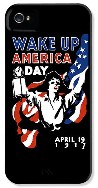 Us Flag iPhone 5 Cases - Wake Up America Day - WW1 iPhone 5 Case by War Is Hell Store