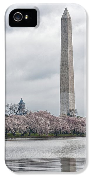 Washington D.c. iPhone 5 Cases - Washington Monument During Cherry Blossom Festival  iPhone 5 Case by Sebastian Musial