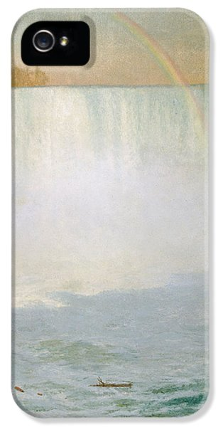 Water iPhone 5 Cases - Waterfall and Rainbow at Niagara Falls iPhone 5 Case by Albert Bierstadt