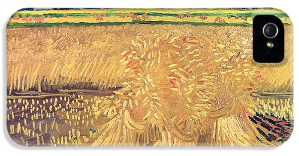Meadow iPhone 5 Cases - Wheatfield with Sheaves iPhone 5 Case by Vincent van Gogh