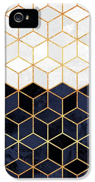 White And Navy Cubes IPhone 5 / 5s Case by Elisabeth Fredriksson