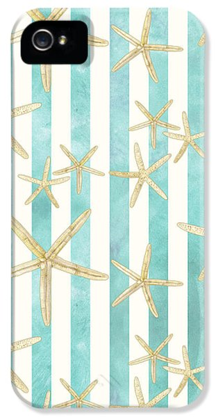 White Finger Starfish Watercolor Stripe Pattern IPhone 5 / 5s Case by Audrey Jeanne Roberts