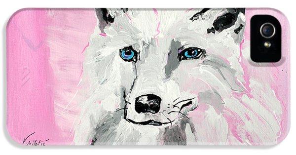 Arctic Rose iPhone 5 Cases - White Wolf - Animal Art by Valentina Miletic iPhone 5 Case by Valentina Miletic