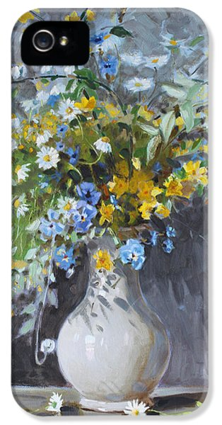 White Flowers iPhone 5 Cases - Wild Flowers iPhone 5 Case by Ylli Haruni